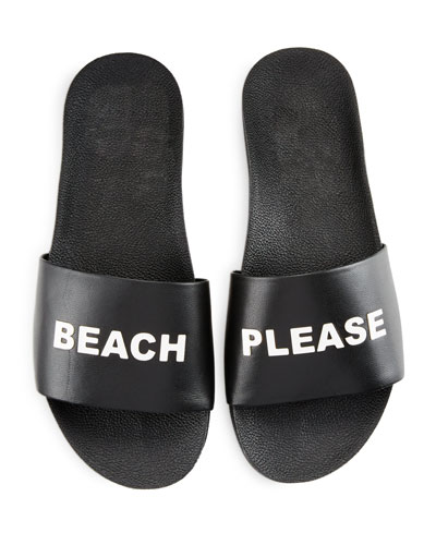 Beach Please Leather Slide Sandal, Black/White