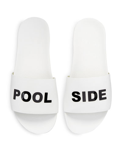 Pool Side Leather Slide Sandal, White/Black