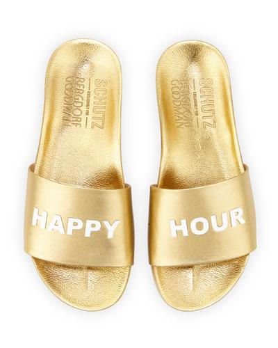Happy Hour Leather Slide Sandal, Gold