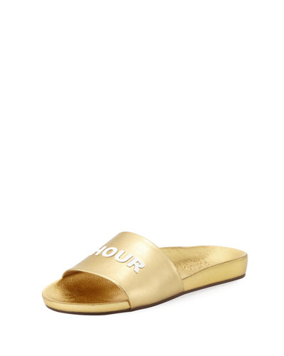 Happy Hour Leather Slide Sandal, Gold