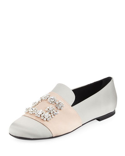 Crystal Buckle Satin Loafer, Gray