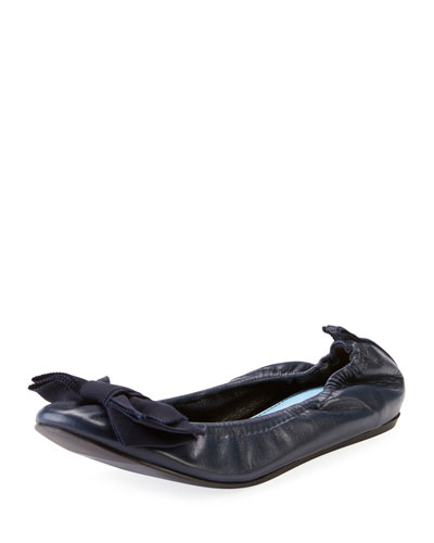 Flat Leather Bow Ballerina Flat, Navy