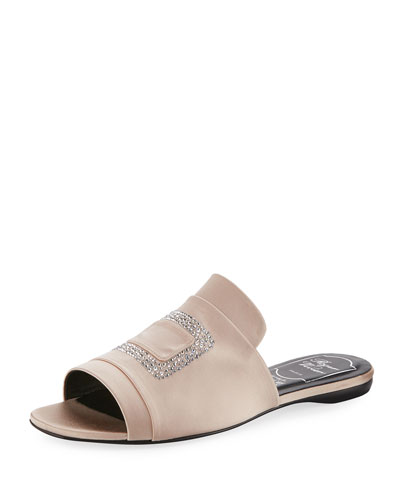 Strass-Embellished Satin Flat Slide, Nude