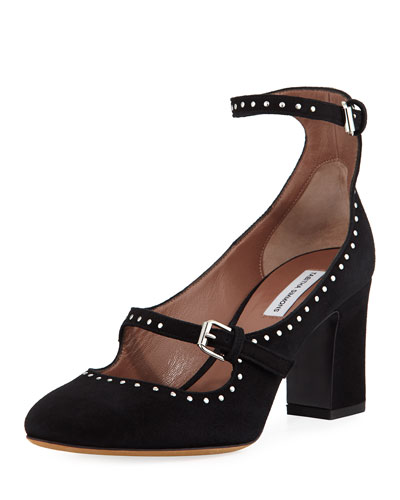 Tutu Studded Suede Buckle Pump, Black