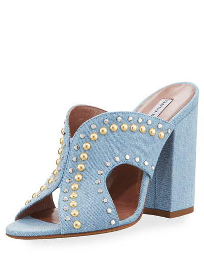 Celia Studded Denim Mule Sandal, Blue