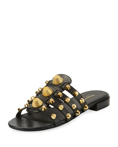 Mixed-Stud Leather Slide Flat Sandal