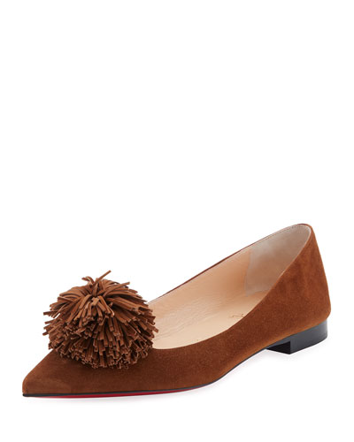 Konstantina Suede Pompom Red Sole Flat, Brown