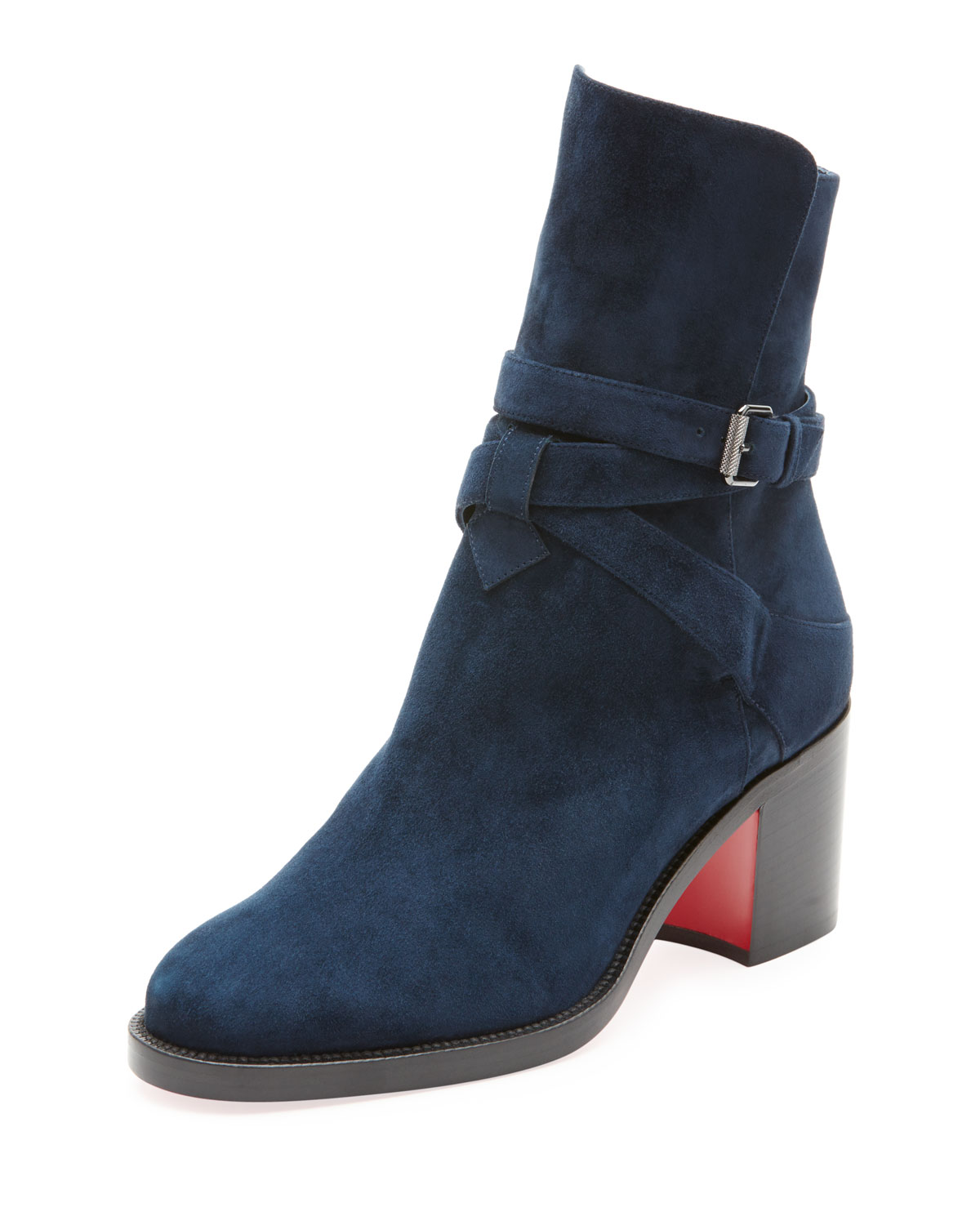 CHRISTIAN LOUBOUTIN KARI SUEDE RED SOLE ANKLE BOOT