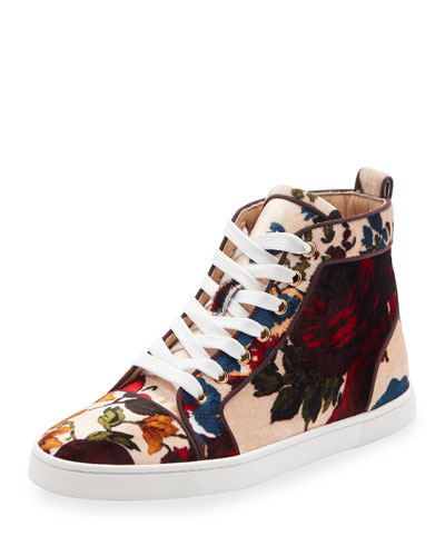 Bip Bip Velvet High-Top Sneaker, Beige