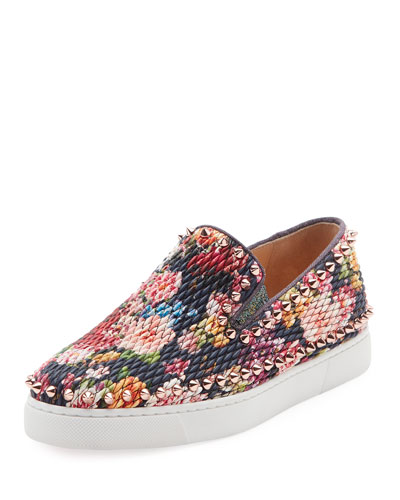 Pik Boat Woman Flat Red Sole Sneaker, Multi