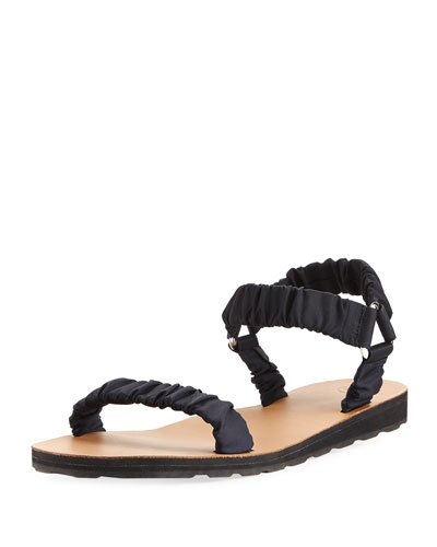 Egon Ruched Nylon Flat Sandal, Navy