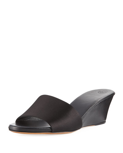 Daisy Satin Wedge Mule Sandal, Black