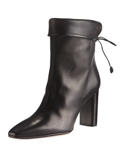 Emil Leather Tie-Back Boot, Black