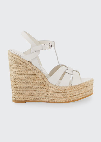 Tribute Matte Leather Platform Espadrille Sandal