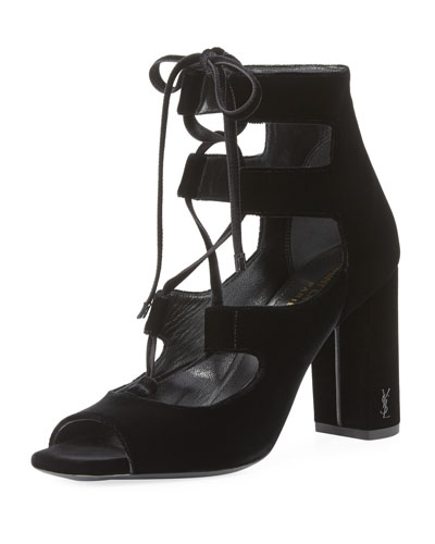 Loulou Velvet Lace-Up Sandal