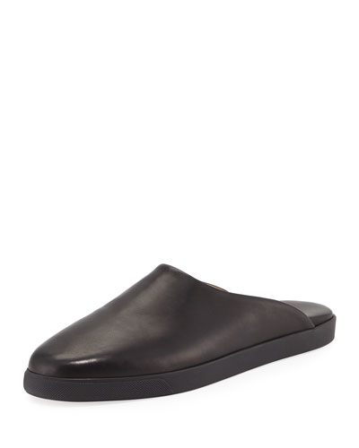 Eric Flat Leather Mule Slide, Black