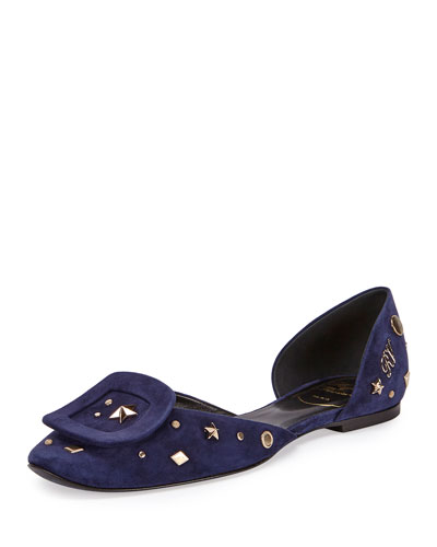 Chips Studded Suede d'Orsay Flat, Navy