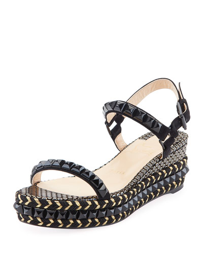 Cataclou Two-Band Red Sole Wedge Sandal, Black