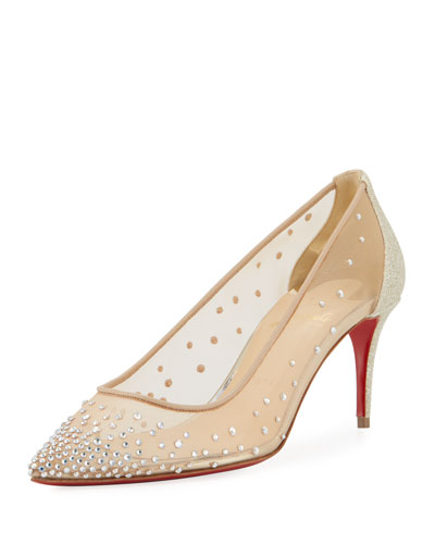 Follies Strass 70mm Red Sole Pump