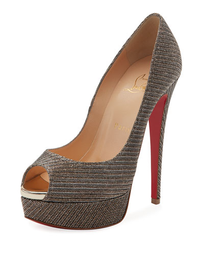 Lady Peep Glitter Chain Red Sole Pump, Gray