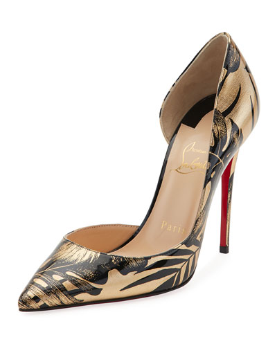 Iriza Palm-Print Red Sole Pump, Black/Gold