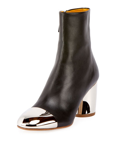 Cap-Toe Metallic-Heel Bootie, Black
