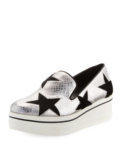 Binx Snake-Embossed Star Loafer, Silver