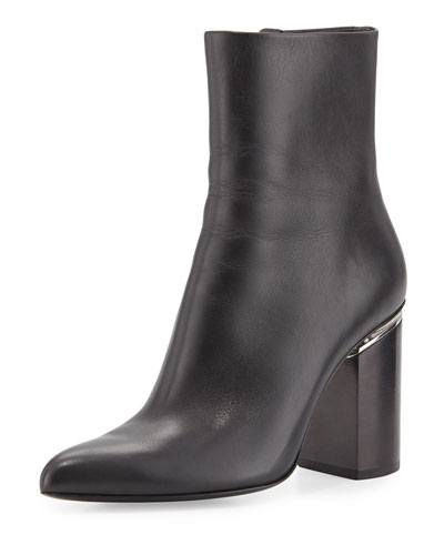 Kirby Leather Block-Heel Boot, Black