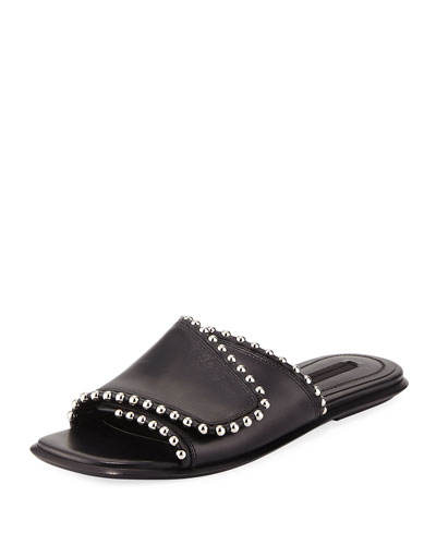 Leidy Studded Leather Flat Slide Sandal, Black