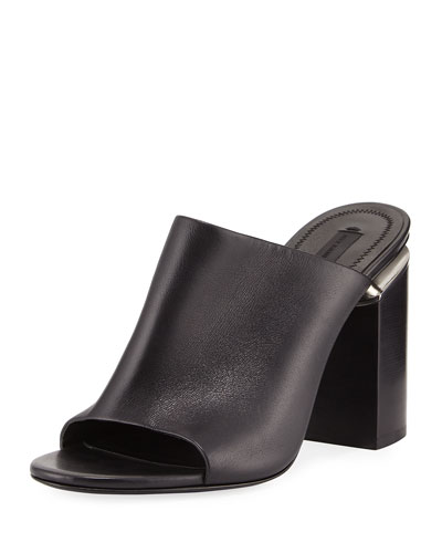 Avery Leather Block-Heel Mule Sandal, Black