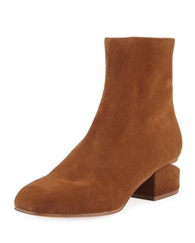 Kelly Suede Tilt-Heel Bootie, Brown