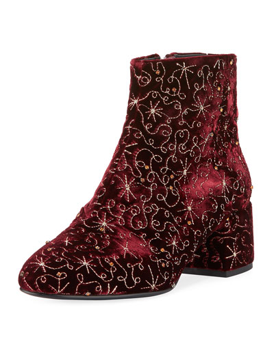 Diamond Bis Embroidered Velvet Boot, Dark Red