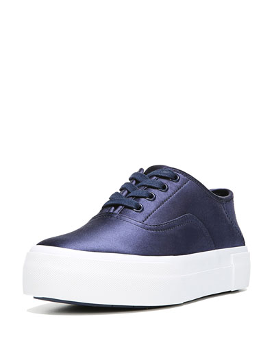 Coply Satin Lace-Up Sneakers, Navy