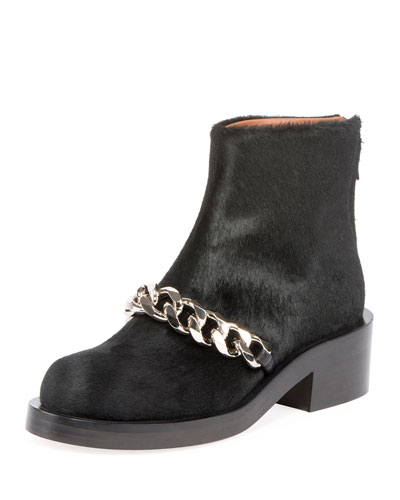 Calf Hair Curb Chain Ankle Boot, Black
