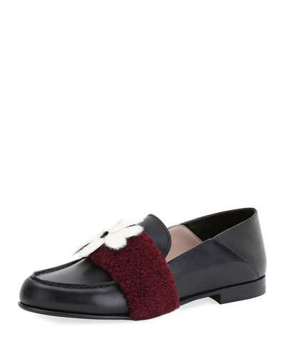 Fur-Embellished Leather Loafer