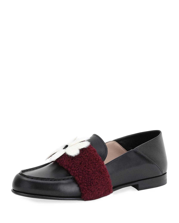 Fur-Embellished Leather Loafer