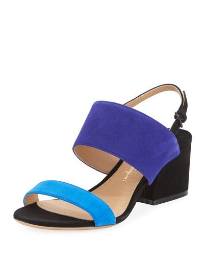 Colorblock Suede Slingback Sandal, Blue Pattern
