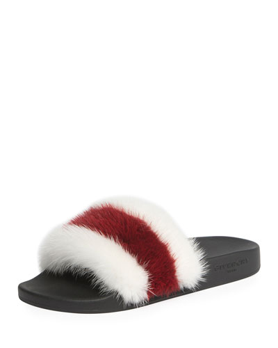 Striped Mink Fur Slide Sandal, White/Red