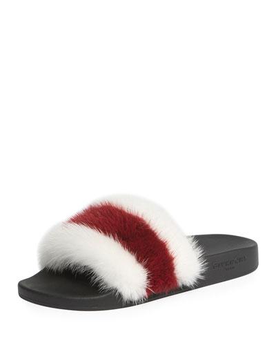 Striped Mink Fur Slide Sandal, White/Red