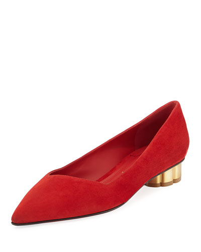 Point-Toe Suede Flat, Red
