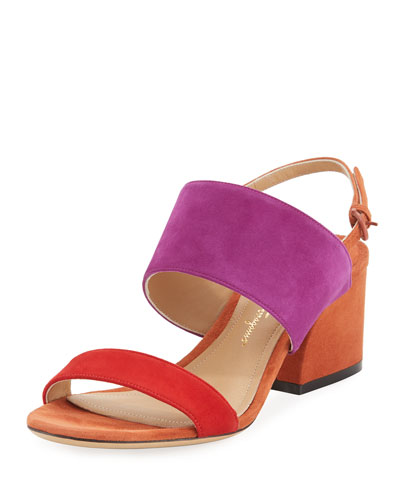 Colorblock Suede Slingback Sandal, Red Pattern