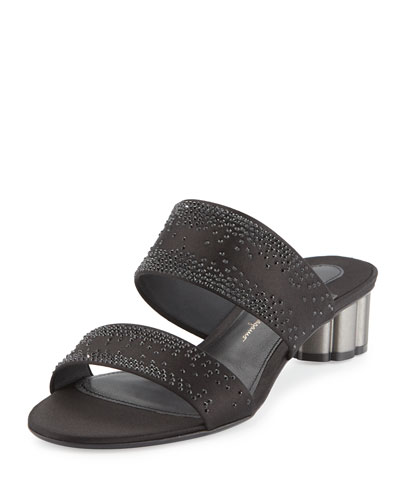 Embellished Two-Band Mule Sandal, Black