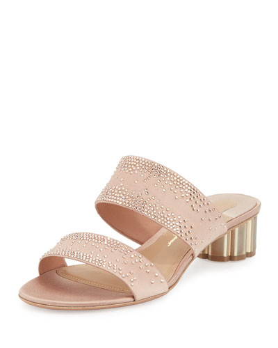 Embellished Two-Band Mule Sandal, Pink