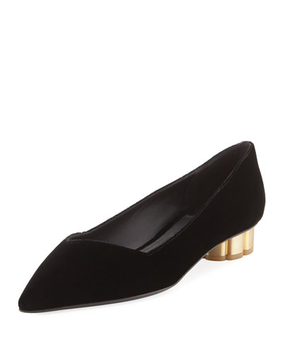 Point-Toe Velvet Flat, Black