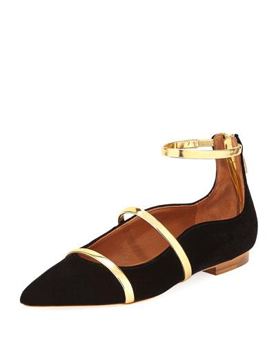 Robyn Velvet Ankle-Strap Flat, Black