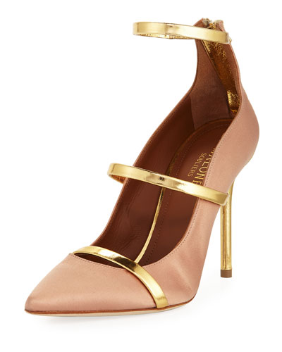 Robyn Three-Strap 100mm Pump, Beige