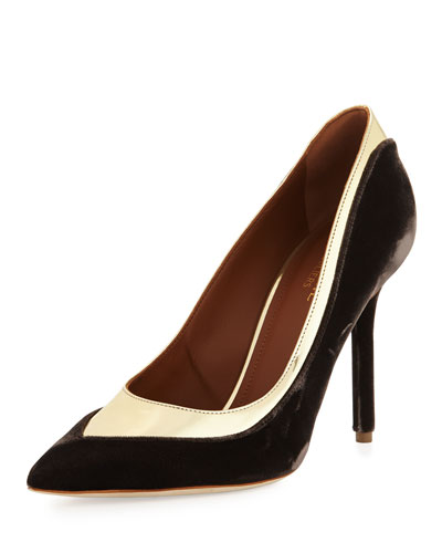 Emmanuelle Two-Tone Velvet 100mm Pump, Brown