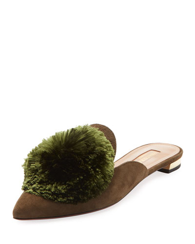 Powder Puff Pompom Suede Mule Flat, Black