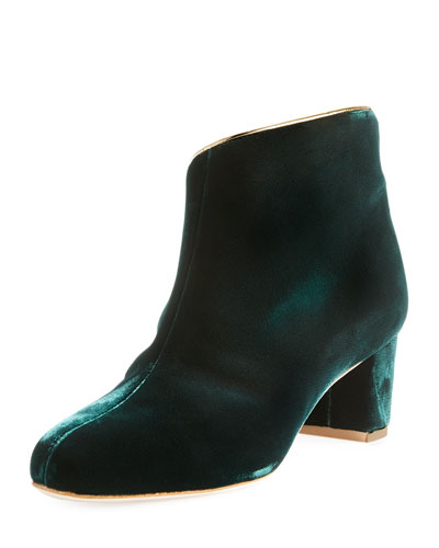 Eula Velvet Ankle Boot, Green