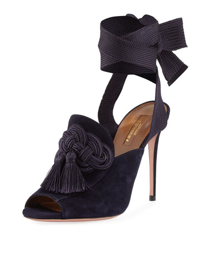 Legend Ankle-Wrap Suede Sandal, Navy